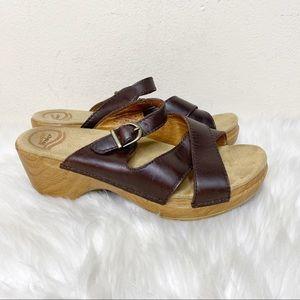 Dansko Slip on Wedge Sandals Leather Size 8